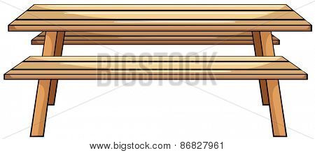 Close up wooden picnic table