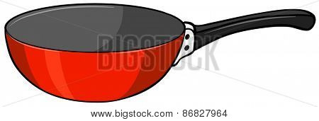 Close up red frying pan