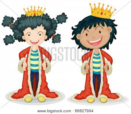 Children dressing up as king