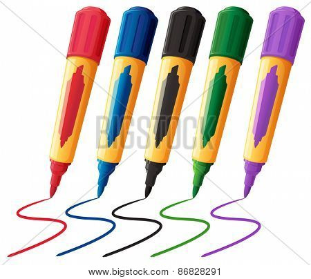 Five color markers with the cap on