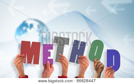 Hands holding up method against global business graphic in blue