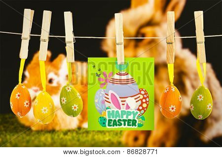 happy easter graphic against ginger bunny rabbit