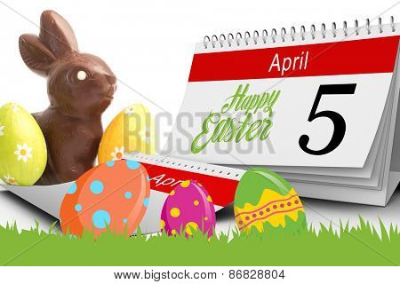 five against chocolate bunny with two easter eggs