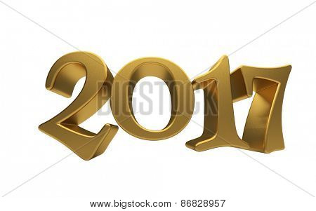 New 2017 Year 3d text on white background