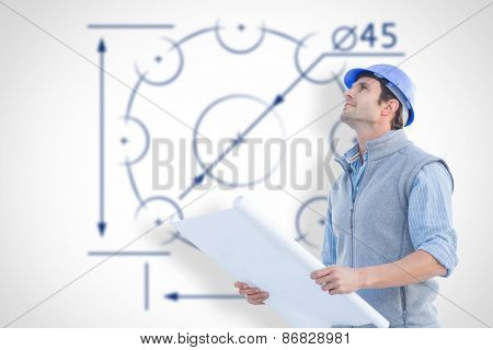 Architect with blueprint against blueprint