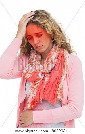 Blonde girl having both headache and belly pain on white background