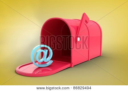 Red email post box against yellow vignette