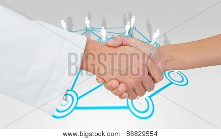 Extreme closeup of a doctor and patient shaking hands against lines linking characters