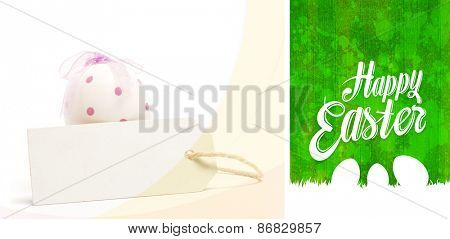 happy easter on green and big egg with blank