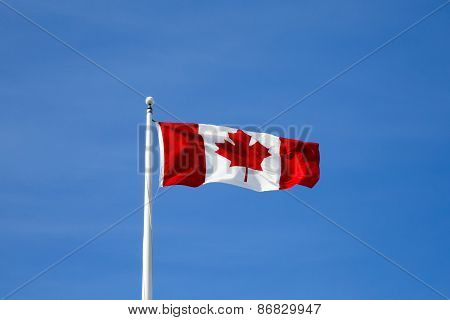 Canadian flag flying