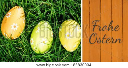 Frohe ostern against wooden planks