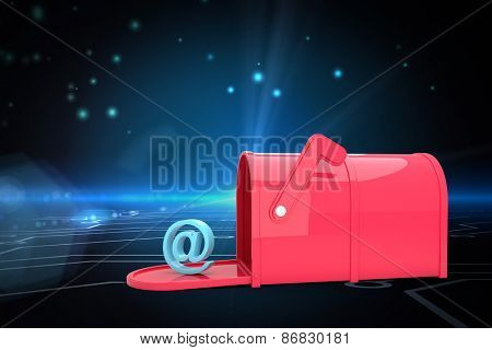 Red email post box against circuit board on futuristic background