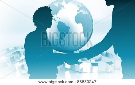 Young businessmen shaking hands in office against planet on grey background with cogs