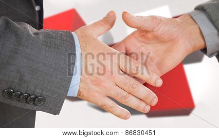 Two people going to shake their hands against red tile pattern