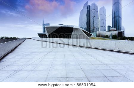 sky,footpath and office buildings