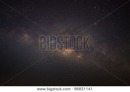 Panorama silhouette of Tree with cloud and Milky Way. Long exposure photograph.