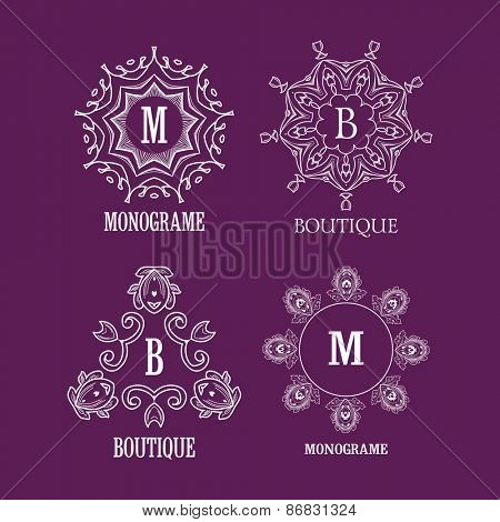 Set of luxury, simple and elegant  monogram designs template with copy-space for text . Good for labels. Vector illustration.