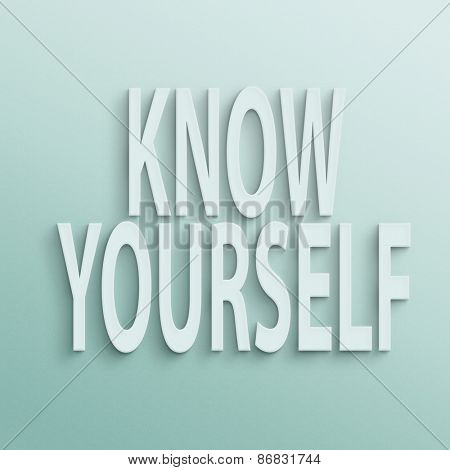 text on the wall or paper, know yourself