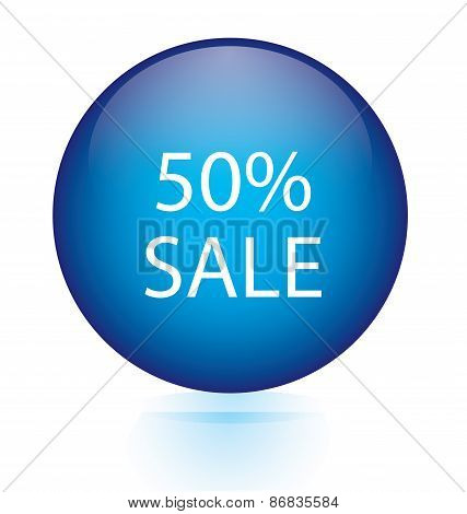 Sale fifty percent blue circular button