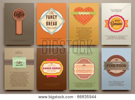 Set of Vintage Labels, Frames and Brochures. Vector Design Templates Collection for Banners, Flyers, Placards and Posters. Retro Backgrounds.