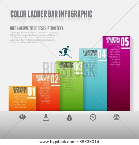 Color Ladder Bar Infographic