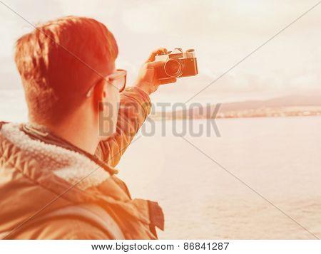 Man Doing Selfie On Coastline At Sunny Day