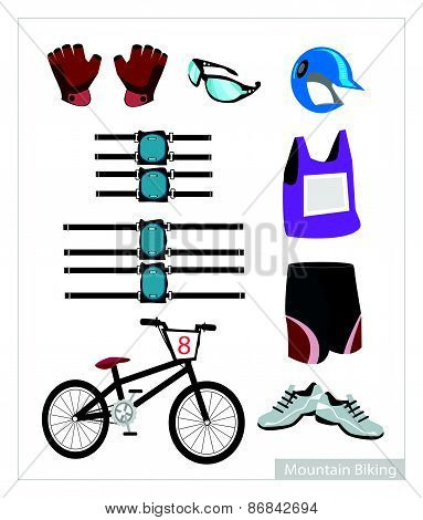 Set Of Mountain Bike Equipment On White Background