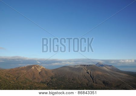 Volcano in Kyushu, Japan with blue sky