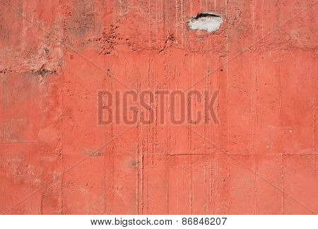 Red old vintage aged cement street rusty grunge rough wall surface background.