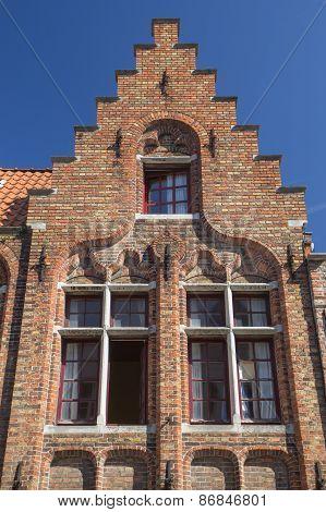 Ancient Brick House In Bruges (flanders, Belgium)