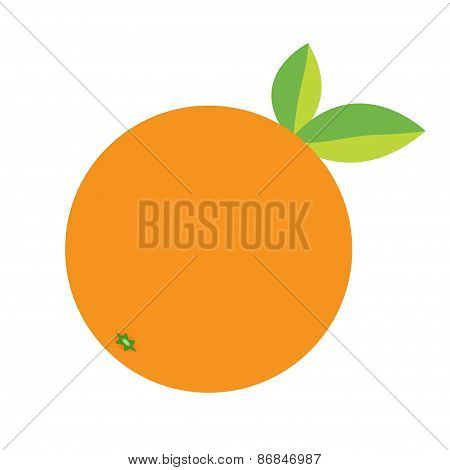 Orange Fruit Icon With Leaf. Healthy Lifestyle Background. Flat Design.