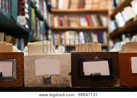 Catalog cards and books in library, closeup
