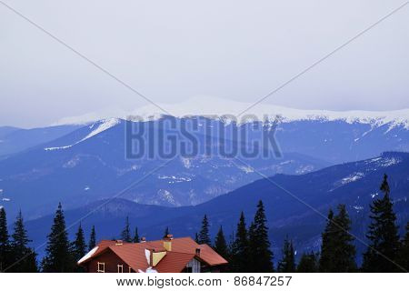 Carpathian Mountains in wintertime