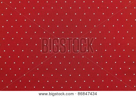 Background Of Red Color Fabric With Round Specks