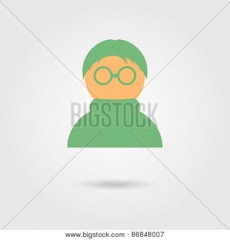 green anonymous icon with shadow
