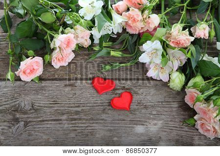 Beautiful Flowers And Red Hearts