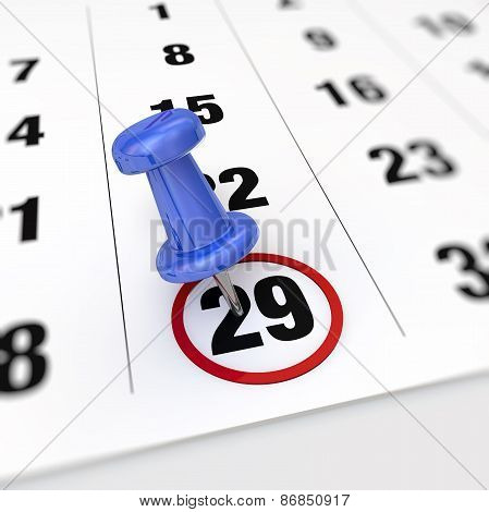 Calendar And Pushpin