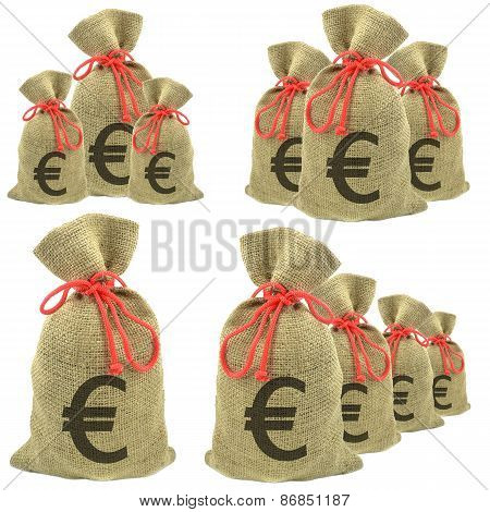 Bags of money with Euro currency