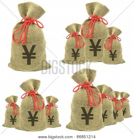Bags of money with yen currency