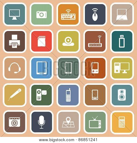 Gadget Flat Icons On Orange Background