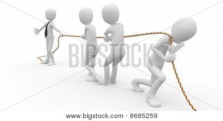 3D Man Business With Rope
