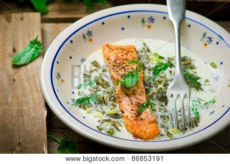 Salmon With Sauce From A Sorrel.