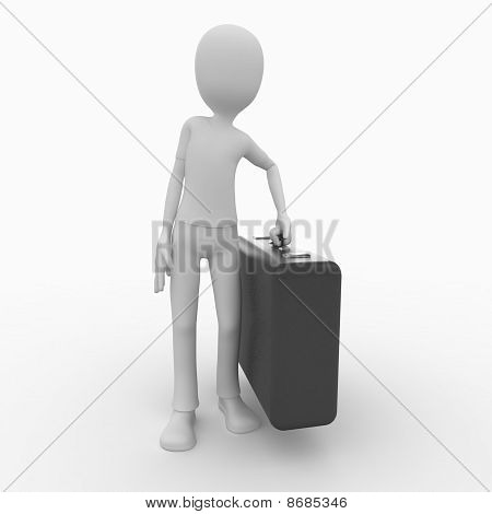 3D Man Traveler With Suitcase