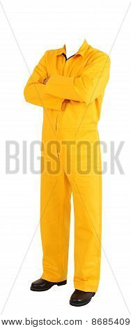 Person with coverall. Isolated
