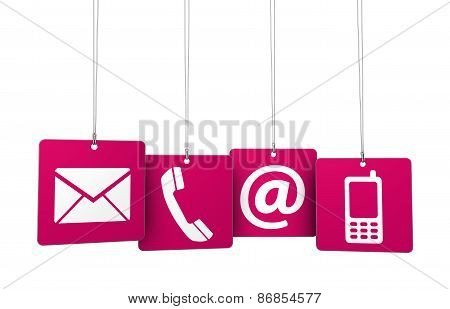 Contact Us Web Icons On Red Tags