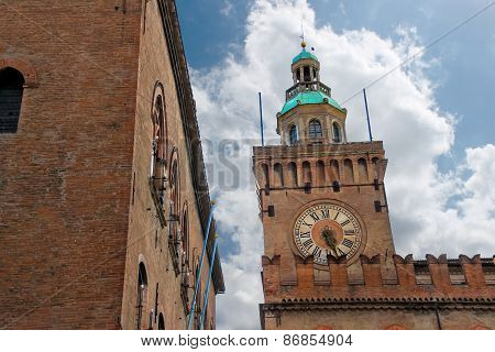 Clock Tower On Palazzo Comunale In Bologna. Italy