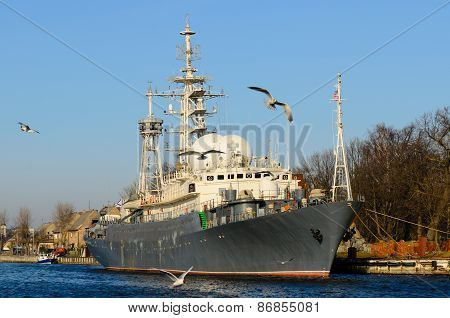 Russian Warship In The Port Of Baltiysk, Kaliningrad Region, Russia.