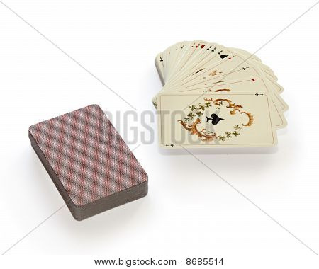 Playing Cards On A White Background.