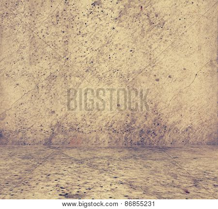 old grunge room with concrete wall, urban background, retro filtered, instagram style