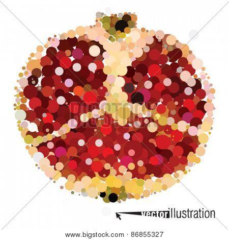 Vector cutout pomegranate consists of circles.